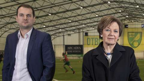 Norwich City sporting director Stuart Webber (left) and co-owner Delia Smith