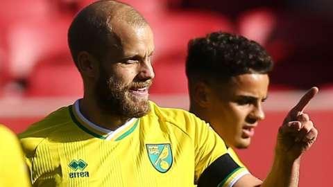 Teemu Pukki celebrates scoring against Bristol City