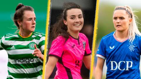 Chloe Warrington of Celtic, Niamh Farrelly of Glasgow City, and Sam Kerr of Rangers