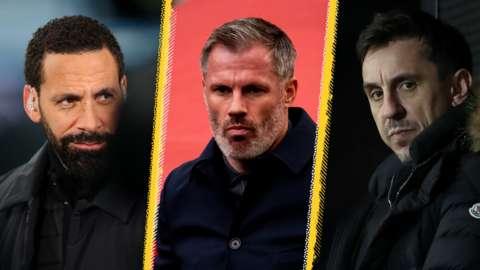 Rio Ferdinand, Jamie Carragher and Gary Neville split pic