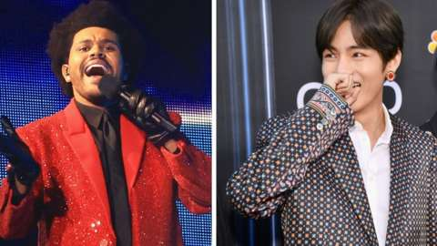 The Weeknd and Jimin from BTS