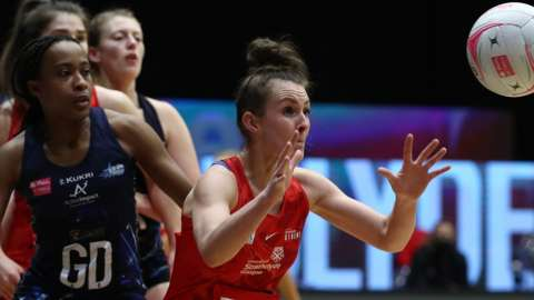 Lynsey Gallagher of Strathclyde Sirens prepares to catch the ball during the Vitality Netball Superleague match between Strathclyde Sirens and Severn Stars