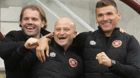 Hearts manager Robbie Neilson and assistants Grant Forrest and Lee McCulloch