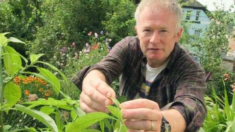 Toby Buckland in a garden