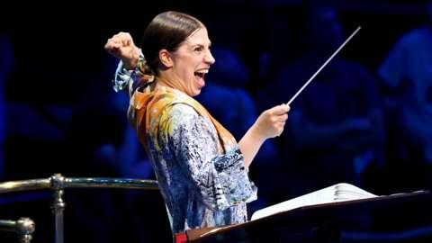 Dalia Stasevska conducts at the Proms