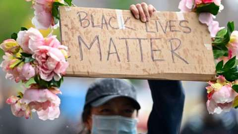 A black lives matter protester