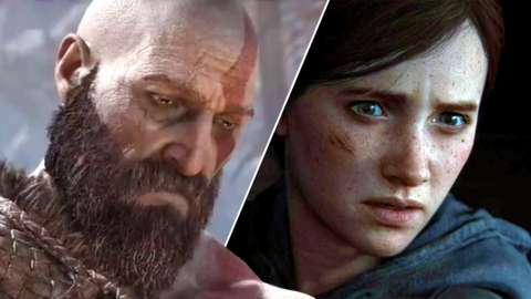 Split of Kratos from God of War and Ellie from The Last of Us Part 2