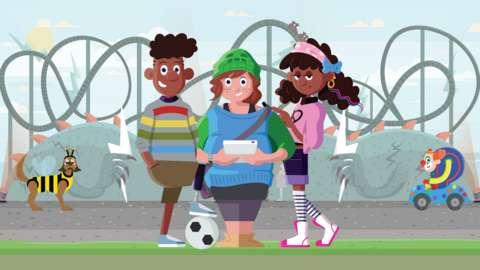 Children at theme park