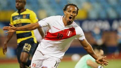 "Peru""s Andre Carrillo celebrates scoring their second goal"
