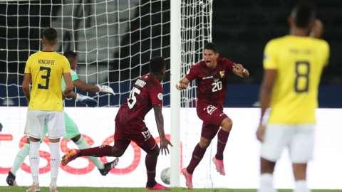"Venezuela""s Ronald Hernandez celebrates scoring their second goal"
