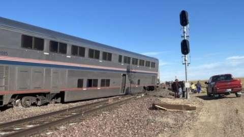 A view of a derailed Amtrak train, outside of Joplin, Montana, USA, 25 September 2021