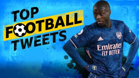 Nicolas Pepe cut-out on Top Football Tweets background
