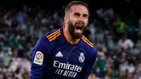 Dani Carvajal celebrates scoring for Real Madrid against Real Betis