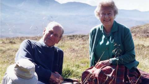 Personal photograph of Prince Philip and the Queen at the top of the Coyles of Muick in the Cairngorms, Scotland, in 2003 taken by the Countess of Wessex