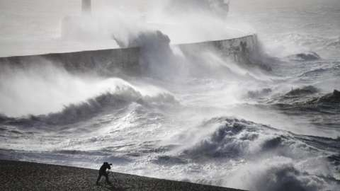Stormy conditions at Newhaven in March 2021