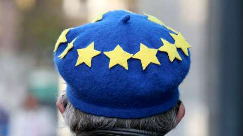 Man wearing EU flag designed hat