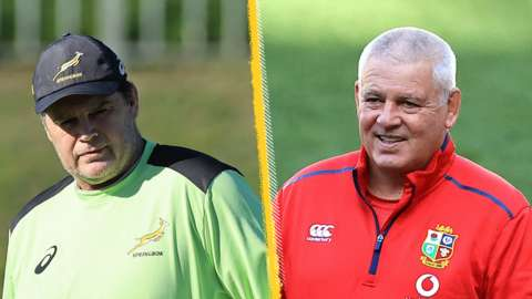 A split picture of Rassie Erasmus frowning and Warren Gatland smiling