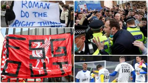 Split picture of fan protests at Stamford Bridge, a banner at Anfield and Brighton players wearing 'Earn It' t-shirts