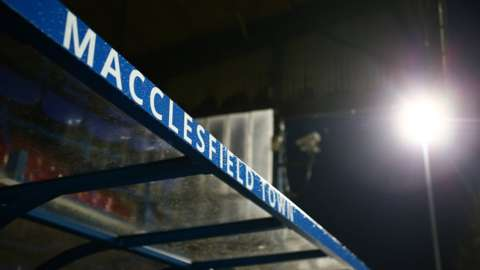 Macclesfield Town dugout at the Moss Rose