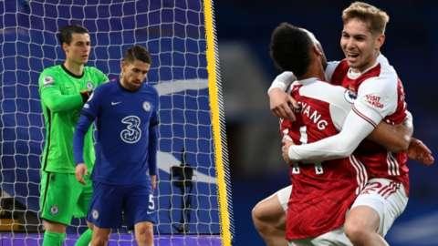 Jorginho looking dejected, Emile Smith Rowe celebrates his goal against Chelsea