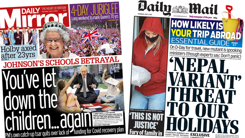 Daily Mirror and Daily Mail front page 03/06/21