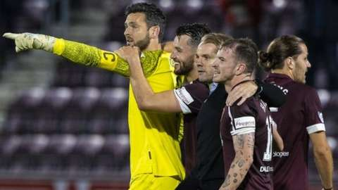 Hearts players celebrate at full-time