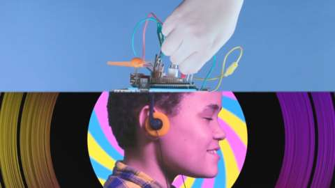 A dreamlike image of a child experiencing new sounds and imagery