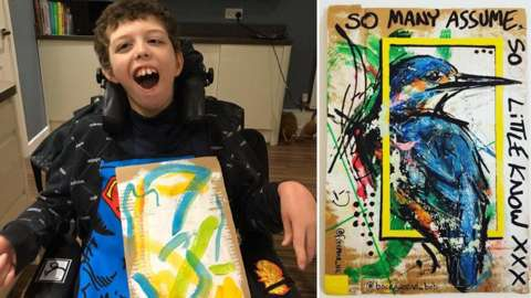 Noah and a finished artwork