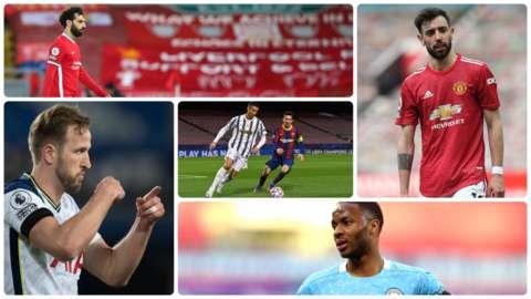Mo Salah, Harry Kane, Cristiano Ronaldo, Lionel Messi, Bruno Fernandes and Raheeem Sterling