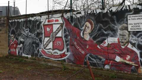 A mural outside Swindon Town's County Ground stadium