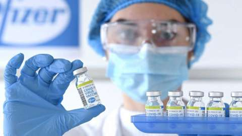 Vials of the Pfizer BioNTech vaccine