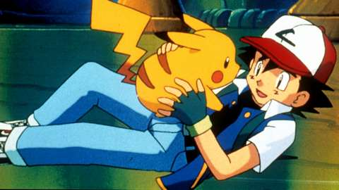 Pikachu And Ash in the first animated Pokémon film