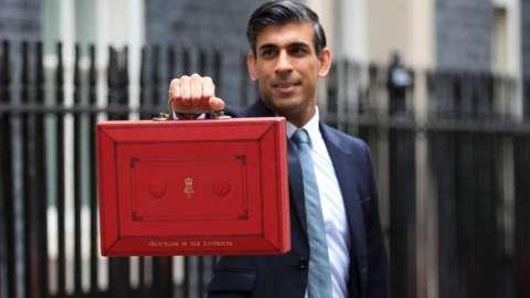 Rishi Sunak outside 11 Downing Street ahead of the Budget