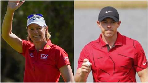 Annika Sorenstam and Rory McIlroy wearing red shirts in support of Tiger Woods