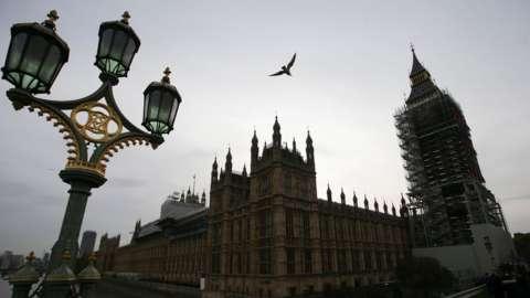Parliament under scaffolding