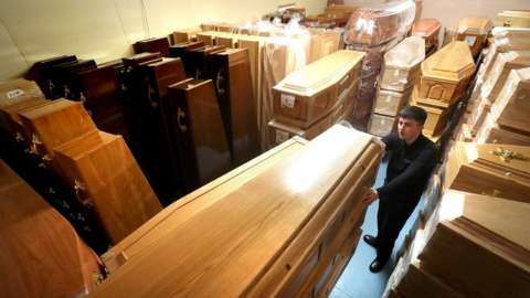 Room of coffins at Glasgow funeral directors