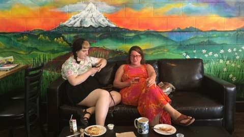Coffee shop with Mount Hood mural