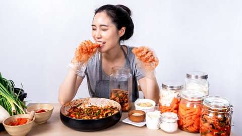 Woman trying out new foods