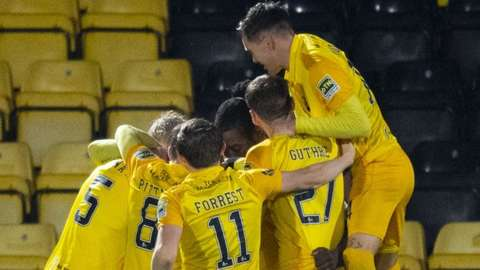Livingston celebrate a goal against Dundee United in December