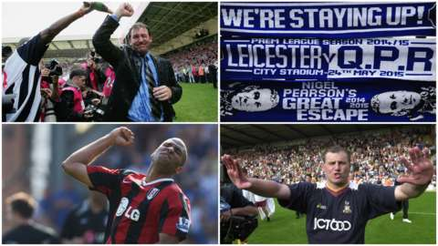 Top left: Bryan Robson, Top right: Leicester scarves, Bottom left: Fulham celebrate Premier League survival, bottom right: Paul Jewell