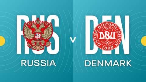 Russia v Denmark Badges