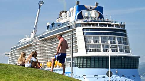 Royal Caribbean International's Anthem of the Seas cruise ship calls at Greenock port on 22 July 2021 in Greenock, Scotland