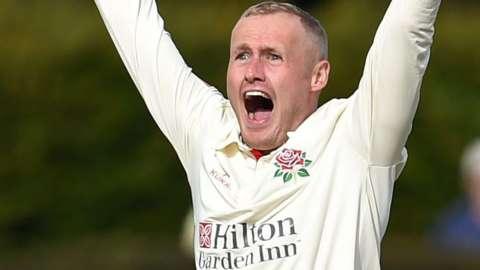 Lancashire's Matt Parkinson appeals for a wicket
