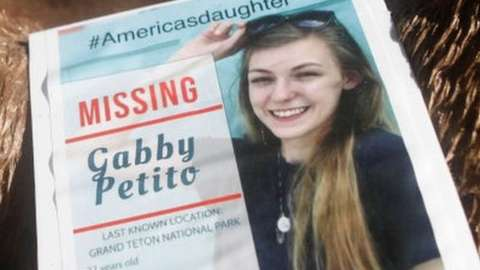 A makeshift memorial dedicated to Gabby Petito in North Port, Florida
