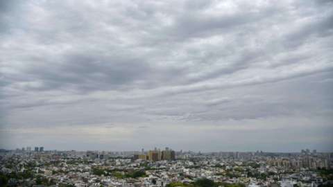 A view of clear blue and white skies, clean air in the city during the nationwide lockdown to curb spread of coronavirus (Covid-19) at sector-30 near Delhi-Gurugram expressway on April 20, 2020 in Gurugram, India.
