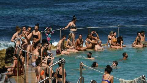 Swimmers at Bronte beach, Sydney, 28 November 2020