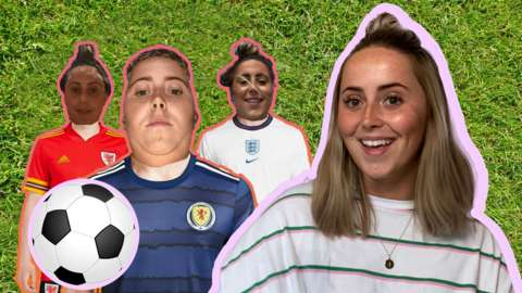 Presenter Roisin Kelly trying on different Euro 2020 strips