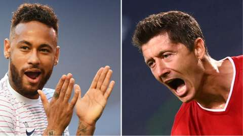 PSG striker Neymar and Bayern Munich striker Robert Lewandowski