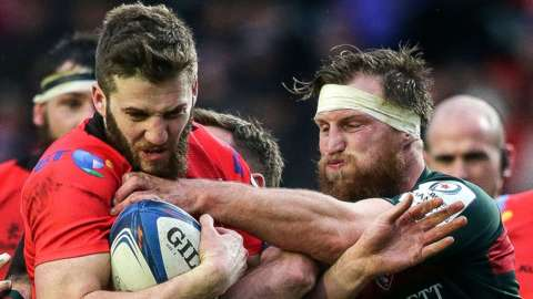 Ulster's Stuart McCloskey battles with Leicester's Brendon O'Connor in the Champions Cup pool game at Kingspan Stadium two years ago