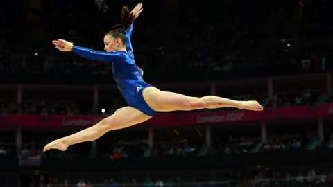 Hannah Whelan competing at the London 2012 Olympics on the beam
